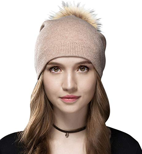 Wolle Beanie (Sumolux Damen Beanie Mütze, gestrickt, Wolle mit Bommel, für den Winter, für Mädchen, Damen, Aprikose)