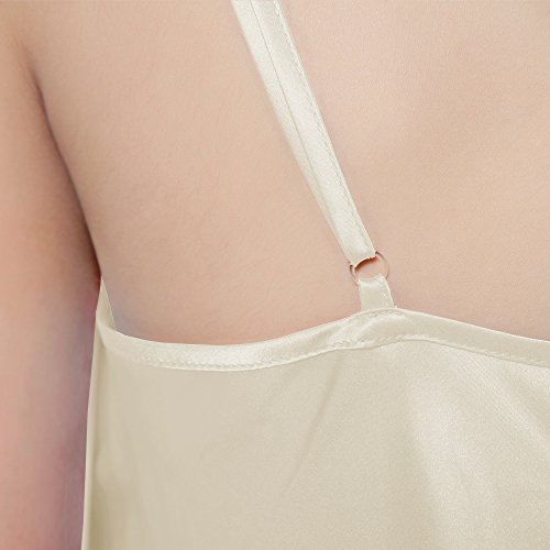 Lilysilk Seide Lang Elegant Nachthemd Damen Nachtkleid 22 Momme Beige