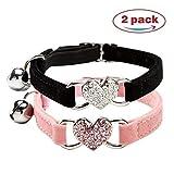 DAIXI Collare del Gatto, Gatto collari con Campana e Bling Fascino del Cuore di Forniture per Animali Carino (Nero + Colore Rosa)