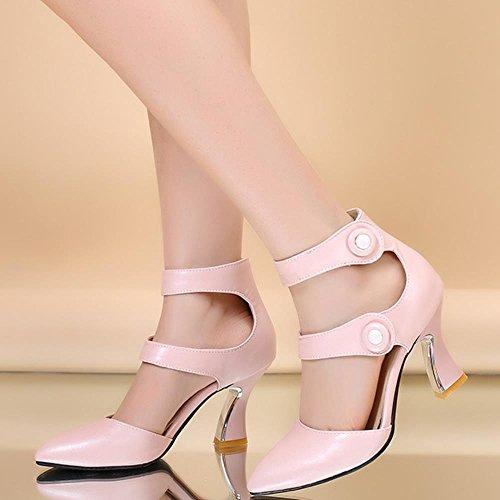 COOLCEPT Damen Mode-Event Klassische Ankle Strap High Heels Sandals Shoes Pink