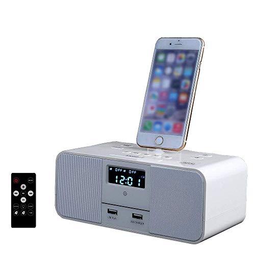 DD&K Docking Station Drahtloser Bluetooth Lautsprecher Doppelter Wecker UKW-Radio Mit Fernbedienung Ladestation Lightning für iPhoneX/8/8 Plus/7 plus/7/6s/6/6/plus/5S/5c (Wecker Iphone Mit Dock 5c)