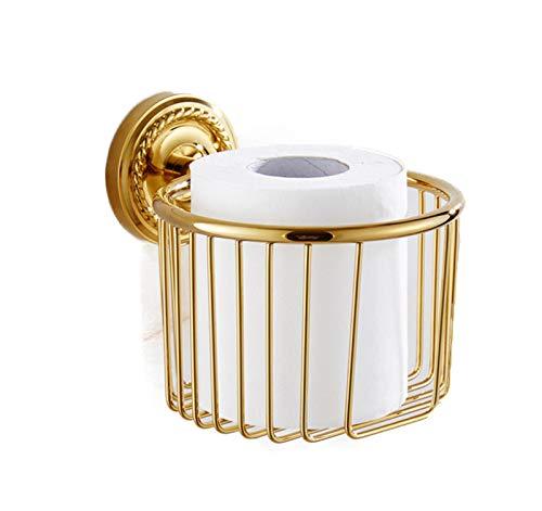 Versteckte Papierkorb (ROTOOY Toilettenpapierhalter Kupfer Gold Racks Rollenhalter Papierkorb Anhänger Toilettenpapier Tablett Antiken Korb D)