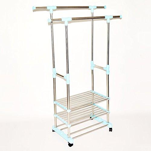 GAIXIA Doppelt Faltbare Kleiderstange, rollender Kleiderbügel, einziehbarer Balkon-Aufbewahrungsschuhschrank, L70-115cm x B42 x H85-157cm, (Edelstahl) Wäscheständer