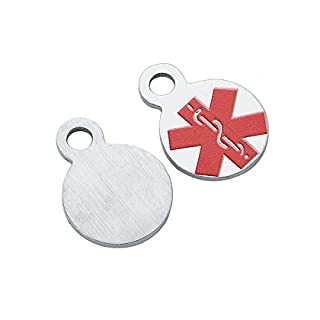 HooAMI 2PCS Stainless Steel Medical Alert Tag Charm Pendant Stamping Blank Jewellery Findings 13x10mm