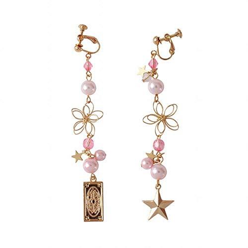 ZRDMN Frauen Tropfen Ohrringe Mokka Kirsche dreidimensionale Blume Perle fünf Sterne Ohrclip -