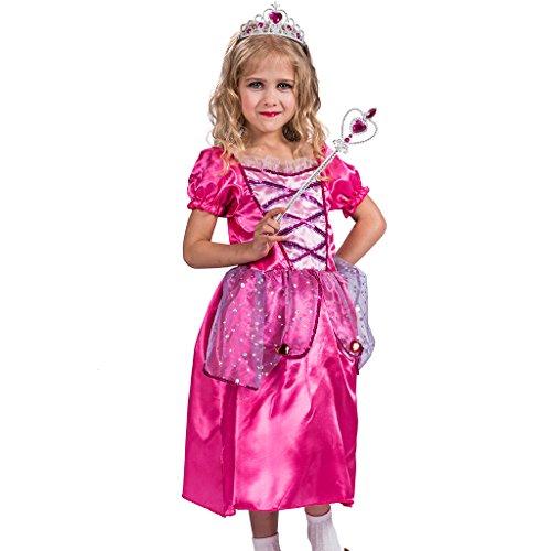 EraSpooky Kinder Blase Hülse Prinzessin Kostüme Party Kleid(Rot-Gelb, Large) (Barbie Dress Up Kostüm)