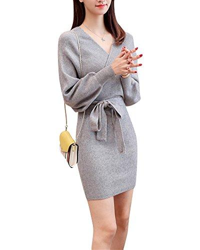 Mengmiao Damen Pullover Kleider Strickkleid Sweater Winterkleider Kleid Sweatkleid Strickkleider Langarm Hellgrau