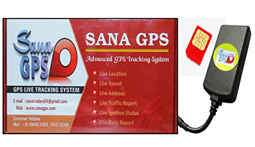 Sana GPS Tracker With Free One Year Software and Sim Recharge for Bike,Car,Bus,Truck Etc (Inbuilt Battery + Waterproof + Engine Lock)