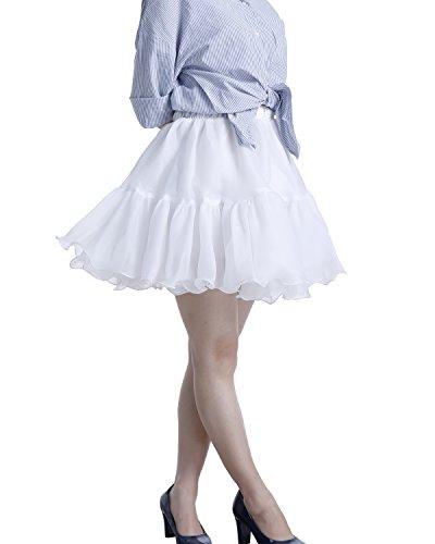 Bbonlinedress Petticoats Kurz Rock Frauen Retros Rockabilly Tanz Party Unterrock White
