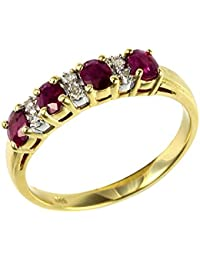 Ivy Gems 9ct Yellow Gold Ruby and Diamond Half Eternity Ring