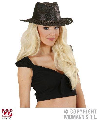 Schwarzer Flecht-Cowboyhut für (Cowboy Western Gunfighter Erwachsenen Kostüme)