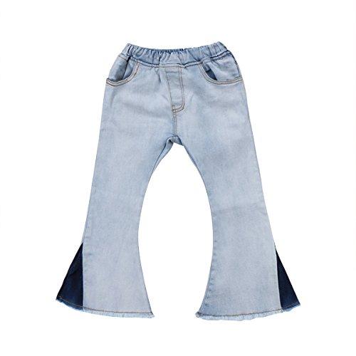 xuemegongsi Kleinkind Baby Mädchen Kinder Causal Elastic Taille Bell Bottom Flare Jeans Weitbeinhose 2-7 Jahre Gr. 5-6 Jahre, weiß -