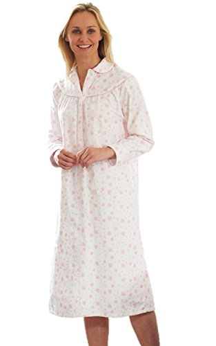 - 41R9tJr0ccL - Ladies Long sleeve Warm Winter 100% Brushed Cotton Winceyette Nightdress Pink or Blue Floral Pattern on Cream 12-14, 16-18, 20-22, 24-26