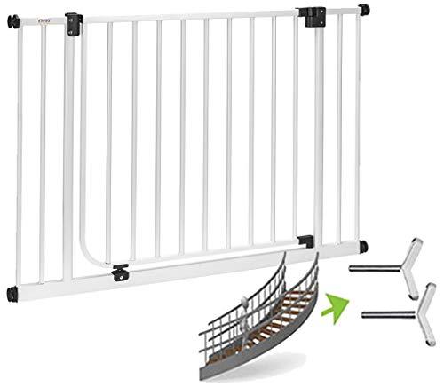 LUNA XXL > Treppenschutzgitter | keine Verbreiterungen nötig |HighTech Neuheit 2019 | 75cm Durchgang | 83 - 243cm | ohne Bohren | Automatik-Tür | 90° Feststellfunktion > 93-102 cm