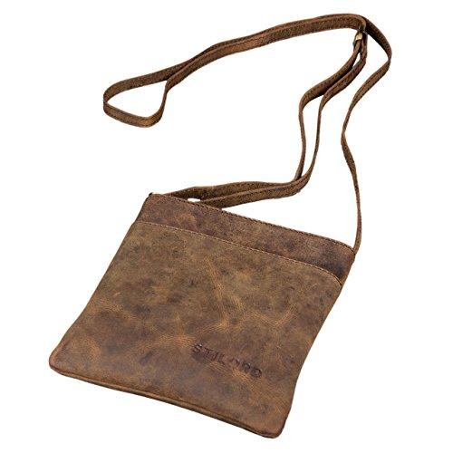 STILORD \'Lana\' kleine Umhängetasche Damen Ausgehtasche Schultertasche Handtasche echtes Büffel Leder Vintage Design, Farbe:Colorado - braun