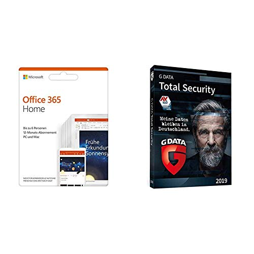 Microsoft Office 365 Home multilingual | 6 Nutzer | Mehrere PCs / Macs, Tablets und mobile Geräte | Box + G DATA Total Security 2019 | DVD| 3 PC | 1 Jahr | Windows