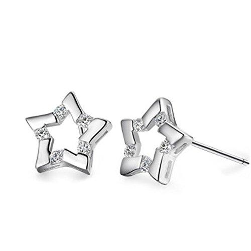 Pendientes de plata con circonita diseño 5 estrellas