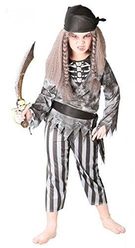 shoperama Zombie Piratin Kinder-Kostüm für Mädchen Pirat Halloween Piratinkostüm, Kindergröße:134 - 7 bis 9 Jahre