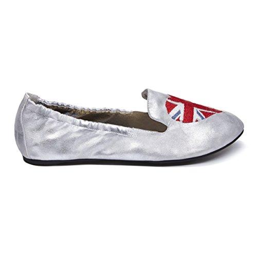 Cocorose Faltbare Schuhe - Carnaby Damen Ballerinas - Silber Union Jill - Größe 41 (Schuhe Beschränkt Frauen Flache)