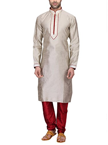 RG Designers Men's Full Sleeve Kurta Pyjama Set D6576Cream
