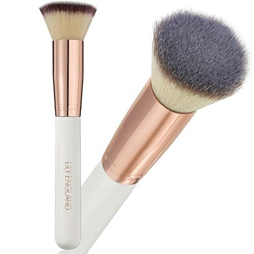 Lily England Pinceau Kabuki Maquillage du Visage - Le Meilleur Pinceau Plat en Poils Synthétiques Ultra Doux pour Fond de Teint Liquide, en Crème ou en Poudre (Coloris Or Rose et Blanc Nacré)