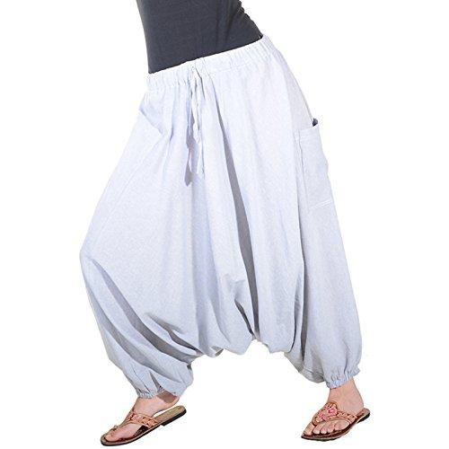 Kunst und Magie Damen Orientalische Haremshose Pumphose Shalwar Hose Muck Aladinhose Hosenrock Grau