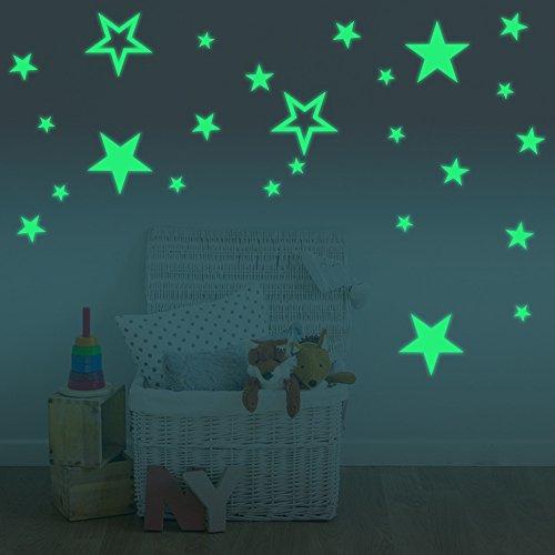 FESKIN 30cm Luna Adesivi da Parete fluorescenti e brillanti al buio + 26 Pezzi Stelle Decorazione da Parete – Casa Camera da Letto Soggiorno, Regalo di Feste Natale Compleanno per Bambini - 5