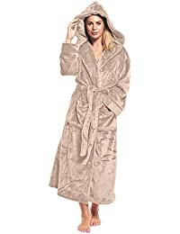 8d80259a5f Ladies Fleece Dressing Gown Long Length Luxury Hooded Snuggle Winter  Housecoat Robe Grey Berry Taupe Size