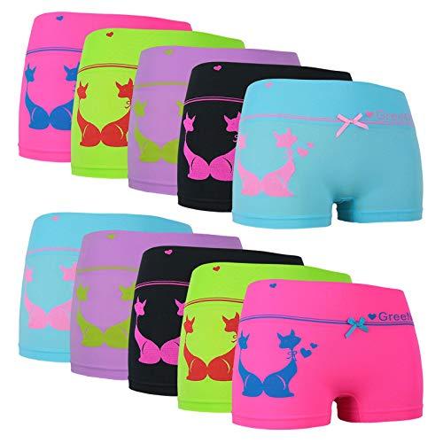 ReKoe 10er Pack Damen Hotpants Microfaser Unterwäsche Katze Panty Hipster Short, Größe:L-XL = 40/42