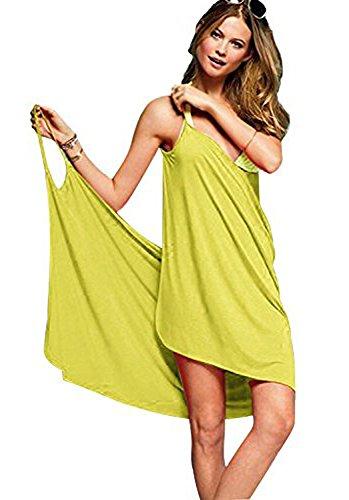 Minetom Femme Été Sexy Sans manche Bikini Cape Col V Plage Dress Douce Peignoir de Bain Serviette Bathrobe Spa Sauna Paréo (One Size, Jaune)