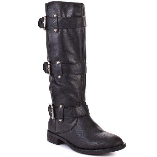 Baby Phat Walvia Damen Schwarz Rund Mode-Knie hoch Stiefel Ohne Karton EU 38 (Damen Phat Baby Schuhe)