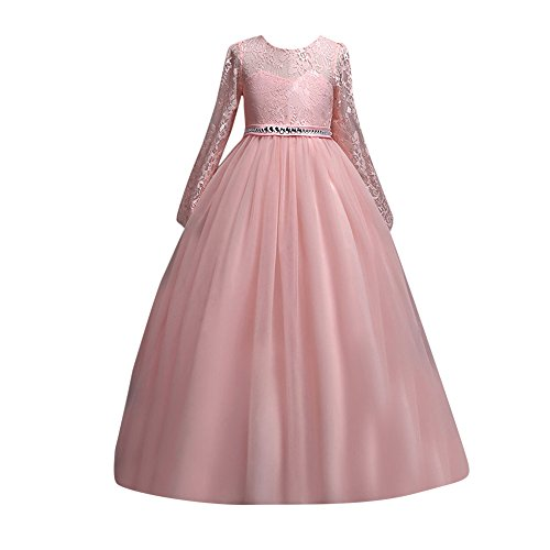 Toamen bambini ragazza principessa abito tutu,estate manica lunga a rete sposa lunghi vestito elegante da ragazza festa costume carnevale (rosa, 150)