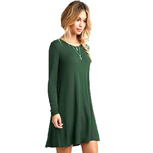 Rcool Lässige lose O-Ausschnitt lange Ärmel Rüschen Mini Partykleid für Frauen Damen (XL, Grün)