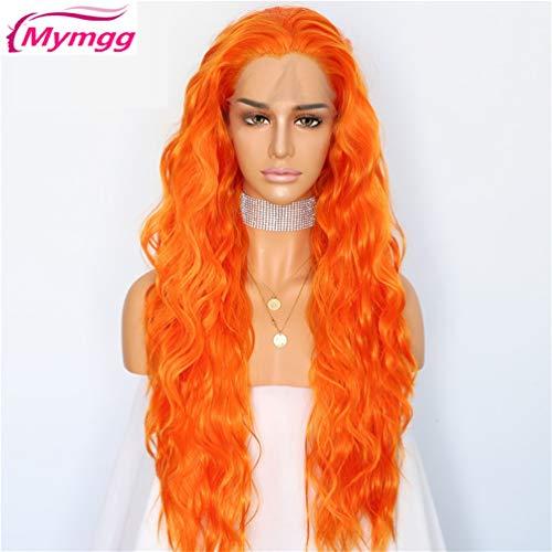Mymgg Peachblow Rote Natürliche Wasser Welle Masquerade Frauen Make-Up Hochzeits-Party Halloween Synthetische Spitze Front Daily Perücken,Orange,26Inch