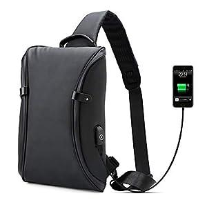 41R9z8zltlL. SS300  - Bolsos Mochila Bandolera Portatil,Bolso del Pecho Impermeable con Cargador USB Recargable Backpack Hombre y Mujeres, Guardar 9.7 Inch iPad y Tableta