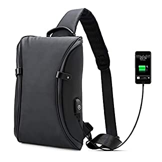 41R9z8zltlL. SS324  - Bolsos Mochila Bandolera Portatil,Bolso del Pecho Impermeable con Cargador USB Recargable Backpack Hombre y Mujeres, Guardar 9.7 Inch iPad y Tableta