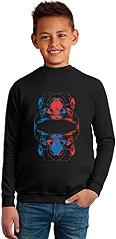 Bird Skull Ornament Superb Quality Boys Sweater by BENITO CLOTHING - 50% Cotton & 50% Polyester- Set-In Sleeves- Open End Yarn- Unisex for Boys and Girls 6-7 years