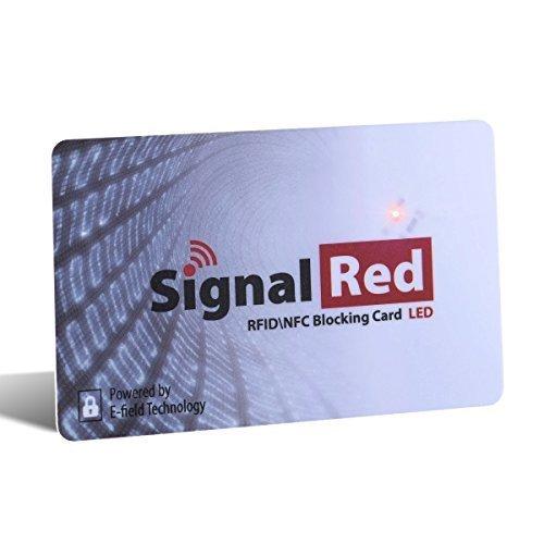 Kreditkarten Schutz mit LED-Licht – 1 RFID Blocking Karte schirmt die RFID / NFC Signale von Kreditkarten und Reisepässe ab; passt in Geldbörse und Handtasche Kreditkarte Binder