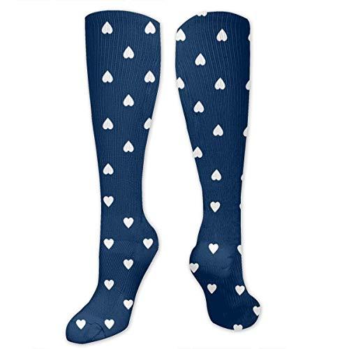 Gped Kniestrümpfe,Socken White Hearts On Navy Blue Compression Socks,Knee High Socks,Funny Socks for Women Men - Best Medical,Sports,Running, Nurses,Maternity,Pregnancy,Travel & Flight Socks (Socks White Knee Navy)