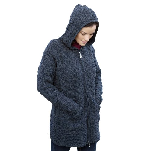 100% Irish Merino Wolle Damen Aran Hooded Zip Cardigan von West End Maschenware Gr. Small, Grau - Dunkelgrau (Irish Sweatshirt Flag)