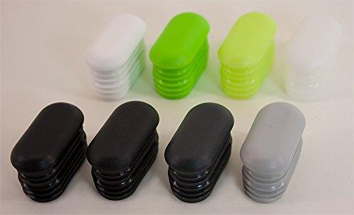 Dekaform Endkappe G101-38x20 mit gewölbten Kopf - Stopfen / Möbelgleiter aus Kunststoff als Stuhlgleiter Tischgleiter Kunststoff Lamellen-Stopfen Gartenstuhl für Flach-Oval-Rohr*38x20-weiss - Menge variabel (24)