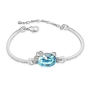 Argent Swarovski Elements Cristal Diamant Chat bracelet bracelets pour Femme Enfants,Coffrets Cadeau---Bleu Marine, Modèle :X17725