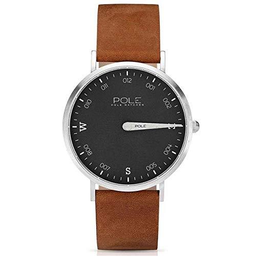Pole Watches Herren Quarz Analog Armbanduhr Bleigrau und Lederband Kamel Modell Compass...