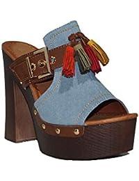 54d5844abfa1c ENCOR - ENCOR Zueco Jean A009 Zapatos Zuecos Tacón Alto Plataforma Madera  Baquero Cómodas Baratas Casuales Sandalias de Mujer…