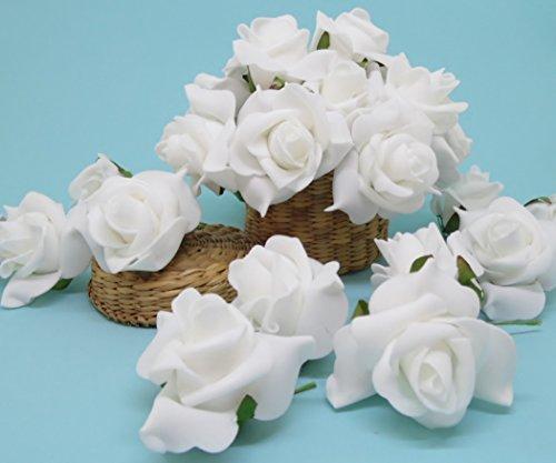 floristikvergleich.de Kunstrosen weiss 24 Stück Schaumrose Foamrose Hochzeit Taufe Kommunion Kunstblumen