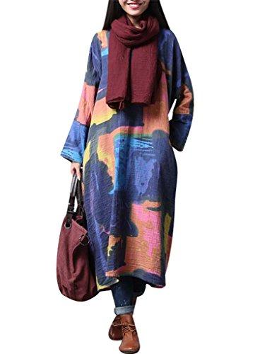 Youlee Damen V-Ausschnitt Abstrakt Drucken Farbblock Kleid Blau