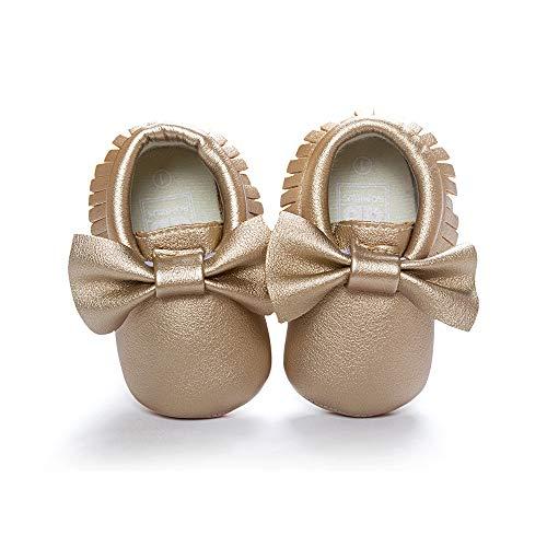 (Morbuy Baby Schuhe PU Mädchen und Jungen Kleinkind Babyschuhe Neugeborene Fringed Bogen Anti-Rutsch Weiche Alleinige Krabbelschuhe Wanderer (11cm / 0-6 Monate, Goldener Bogen))