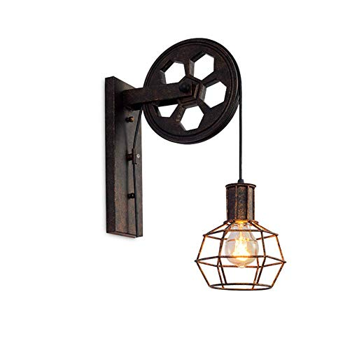 Wandleuchte, Retro Wandlampe Metall Aufhängen Flaschenzug Beleuchtung und Design Hell E27 Halter für Innen, Treppenhaus flur Küche, Wohnzimmer, Schlafzimmer, Bedside,Bronze -
