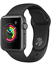 Apple Watch Series 1, 38 mm, GPS, Aluminium Gehäuse, Space Grau mit Sport-Armband, Schwarz, 2016
