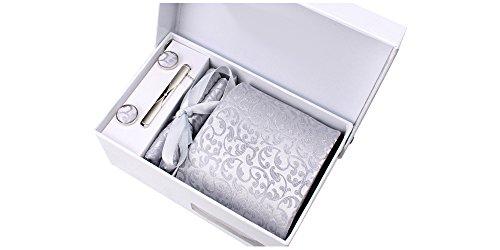 Coffret Nashville - Cravate gris clair satiné à motif floral ton sur ton, boutons de manchette, pince à cravate, pochette de costume